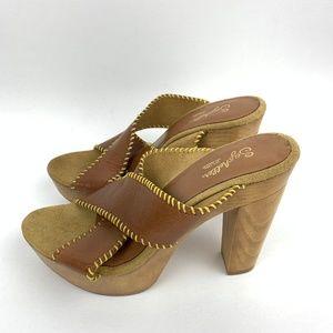 Seychelles Wooden Platform Leather Stitch Heels 9